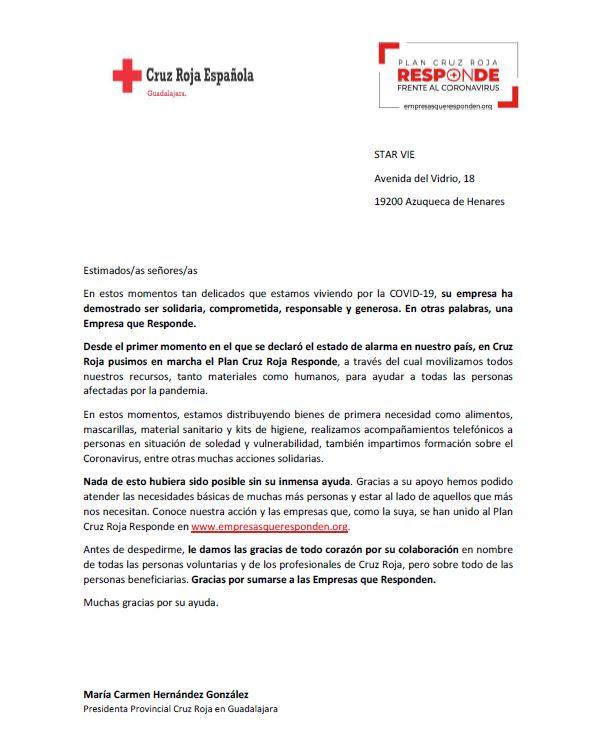 StarVie colabora con Cruz Roja España frente al coronavirus
